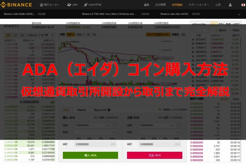 ADA(アイダ)コイン購入方法完全解説!初心者でも簡単購入、口座開設は仮想通貨取引所バイナンスで