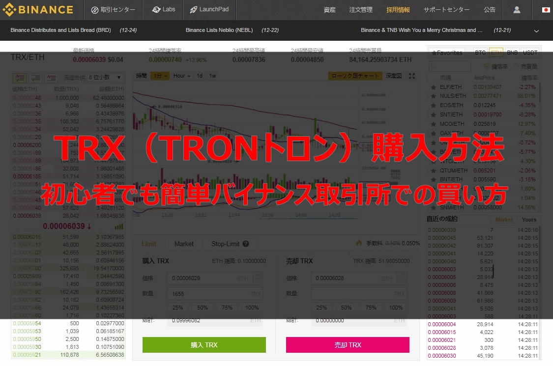 TRX(TRONトロン)仮想通貨購入方法!初心者でも簡単バイナンス取引所での買い方徹底解説
