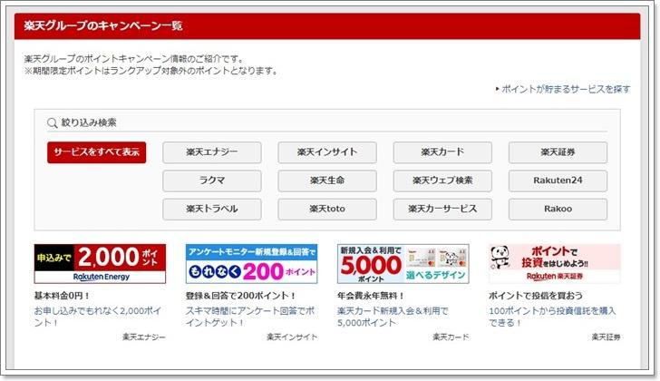 楽天グループのポイントキャンペーン情報
